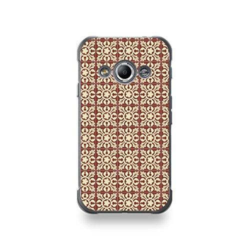 Destination telecom Coque Samsung X Cover 3 Silicone motif Carreaux De Ciment Décor Normandie Marron