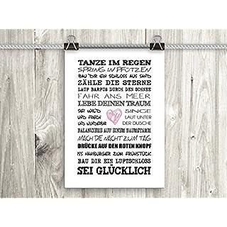 artissimo, Poster mit Spruch, Din A4, PE0041-DR, Tanze im Regen, Bild mit Spruch, Spruchbild, Wandbild, Plakat, Kunstdruck, Zitat, Sprüche, Wanddekoration