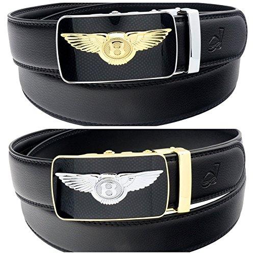 QHA Mens Bantley Style Auto Buckle Ratchet Leather Belt Q47