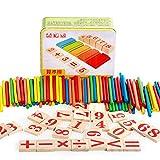LAMEIDA Caja de Matemáticas con Números Palillos Juguetes Juegos Educativos Matemáticas con Madera Palillos en Estudiar y Aprender para Bebés y Niños Caja Material de Metal de Lata