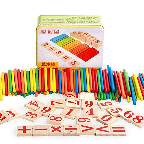 ssori Spielzeug Rechenstäbchen Holz Zahlen Mathe Lernen Spielzeug Ausbildung Spielzeug für Kinder 3-6 Jahre Alt ()