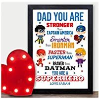 Personalised Dad Birthday Superhero Gift - Birthday Gifts for Daddy Dad Grandad - PERSONALISED ANY RECIPIENT for Birthdays, Christmas - Black or White Framed A5, A4, A3 Prints or 18mm Wooden Blocks