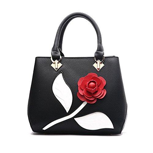 Nero Borse Donna Fiore Messenger Bag Borse in Pelle Tote Borsa Style Borsetta Nero Borsa