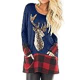 Christmas Pullover Damen UFODB Elegante Frau Weihnachtspullover Weihnachten Blumen Drucken Langarm Sweatshirt Cute Hemd Rentier Fashion Pulli Warme T-Shirt Kleid