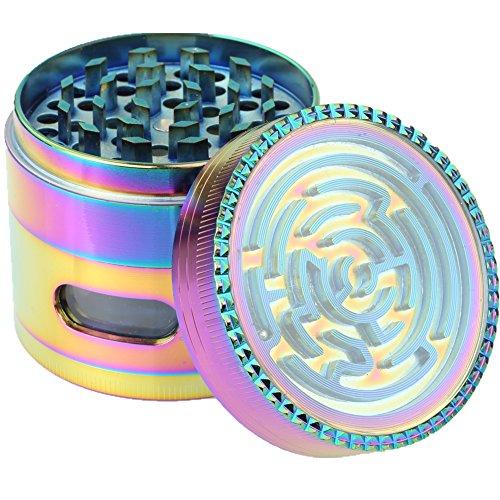 Engshwn neues Design Premium Zink Legierung buntes Regenbogen Labyrinth Pollen Gewürze Tabak mit transparentem Fenster 4 Stücke 63 mm Pink Space Case Grinder