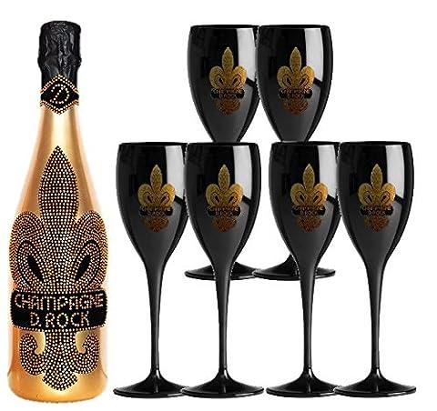 Luxus Champagner-Set D. Rock ink. 6 Gläsern in schwarz |