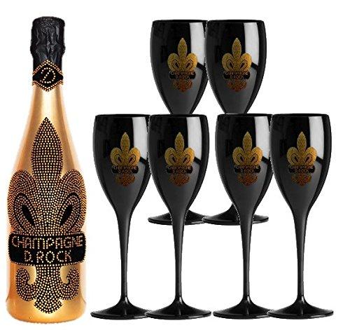 Luxus Champagner-Set D. Rock ink. 6 Gläsern in schwarz | über 1000 geschliffenen Schmuckkristalle - jede Flasche ein Unikat -dazu 6 Champagnerkelche mit goldener Lilie. Das Geschenkset für Frauen und Männer