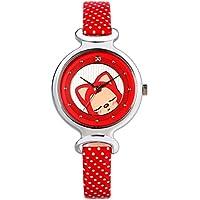Time100 Orologio da Polso della Serie di Gioventù, Color Rosso, Movimento al Quarzo, Bracciale in Pelle di Vitello, Quadrante Rotondo Decorato con strass e immagine di Volpe Mignon Ali#W30002.04A