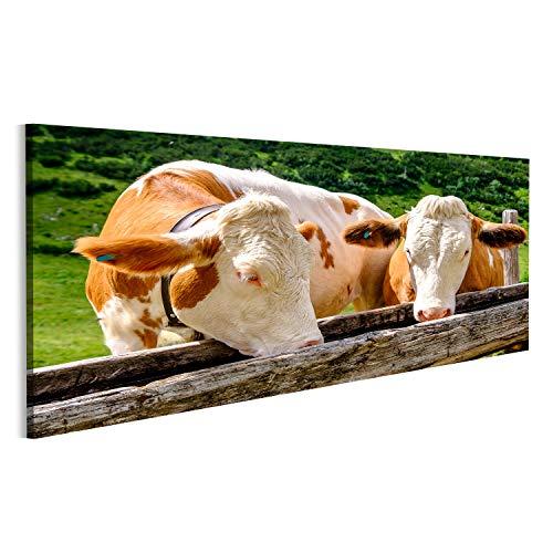 bilderfelix® Bild auf Leinwand Kühe in den europäischen Alpen - Foto Wandbild, Poster, Leinwandbild OEP