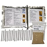 1kg Gießharz, Epoxidharz im Knetbeutel + 30 Estrichklammern, 500g Quarzsand