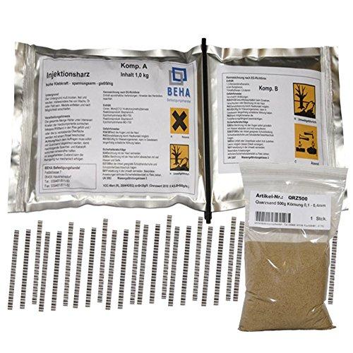 Preisvergleich Produktbild 1kg Gießharz,  Epoxidharz im Knetbeutel + 30 Estrichklammern,  500g Quarzsand
