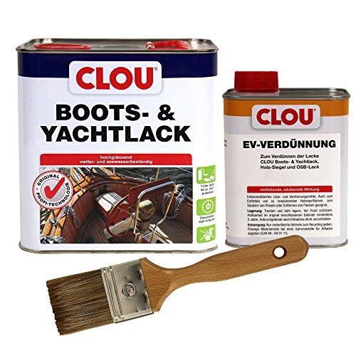 CLOU Boots & Yachtlack, hochglänzender Klarlack für besonders beanspruchte Holzflächen inkl. EV-Verdünner und Pinsel, verschiedene Größen zur Auswahl (2,5 l Bootslack + 0,75 l Verdünner + Pinsel)