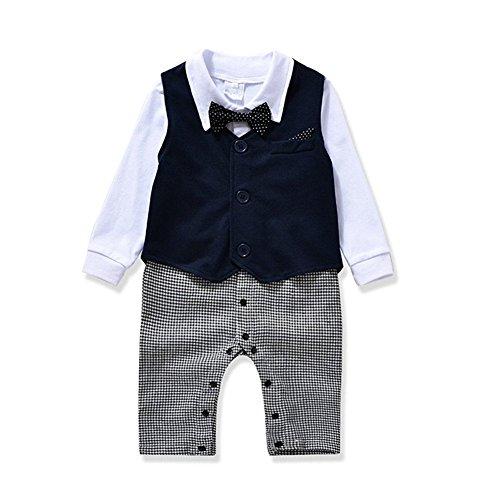 Strampler Baby Junge Gentleman Bodysuit Anzug Outfits Babyanzug Bekleidungssets Kleikind Festliche Anzug mit Schleife Weste für 0-24 Monate (80(6-12M), Dunkelblau)
