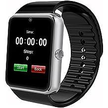 AsiaLONG Bluetooth Smart Watch Uhr Schrittzähler Armbanduhr Handy-Uhr Smartwatch Fitness Tracker mit Kamera, 1.54 Zoll Display, Schlafanalyse, SMS Facebook Vibration Kompatible Android Samsung Huawei HTC LG Sony Smartphone