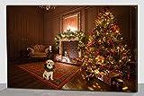 Quadro Natalizio Albero Natale Cane LUCI LED