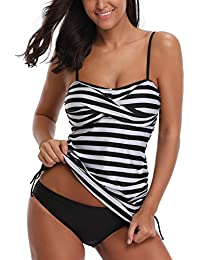 AYEEBOOY Women's Plus Size Floral Halter Tankini Set with Boyshort High Waist Swimsuit Bikini