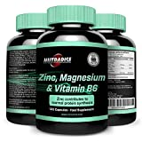 ZMA, Minéral - Complément de vitamine pour le sport avec Magnésium - Zinc - B6. Nos capsules de ZMA sont optimales pour : Récupération musculaire - Croissance - Force - Mieux dormir - 120 Capsules