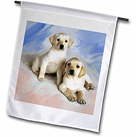 3dRose fl_4027_1 Garden-Bandiera decorativa Labrador Retriever, 12 x 18 cm