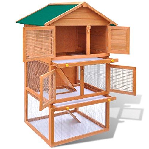 Anself gabbia all'aperto per conigli animali 3 strati in lengo con impermeabile tetto