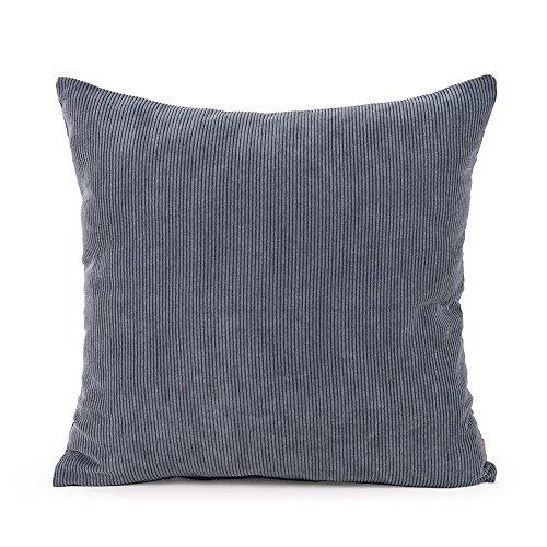 baibu Purer Weicher Dekorativ Sofa Kissenbezug Kissenhülle mit verdecktem Reißverschluss aus Kord in 8 modernen Farben und 11 Größen,Dunkelgrau 80x80cm