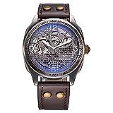 OUYAWEI Männer Analog Automatische Mechanische Bronzeton Skelett Armbanduhr mit Polyurethan Armband 1703