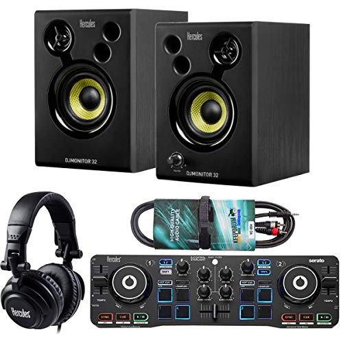 Hercules DJ Starter Kit 2-Deck USB DJ-Controller Set inkl Boxen Kopfhörer + keepdrum Audio-Kabel