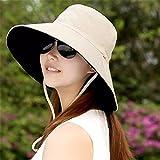 GAOQIANGFENG Womens UPF 50 + Große Kante Falten Sonnenschirm Hut Sommer Outdoor-Helm, Doppel-Seite Tragen Tuch Kappe, Lady Sonnenhut, Atmungsaktive Hut, Beige
