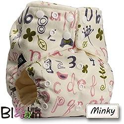 LittleBloom Bebé Pañales Lavables Pañal Reutilizable BAMBÚ, Cierre: POPPER, Patrón 12, Con 2 FIBRA DE BAMBÚ Insertos