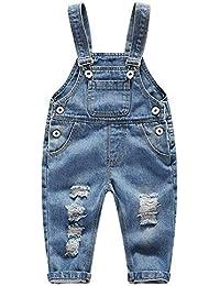 c4eafe96f FEOYA Niños Bebé Petos Vaqueros Overalls Denim Pantalones Tirantes Largos  Jeans Strench Casual ...