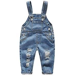 FEOYA Niños Bebé Petos Vaqueros Overalls Denim Pantalones Tirantes Largos Jeans Strench Casual 0-2 Años 9