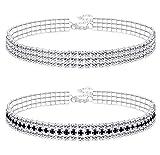 Finrezio 2 Stücke 3 Reihe Strass Choker Halskette Für Frauen Kristall Halskette Weiß & Schwarz Einstellbare Länge