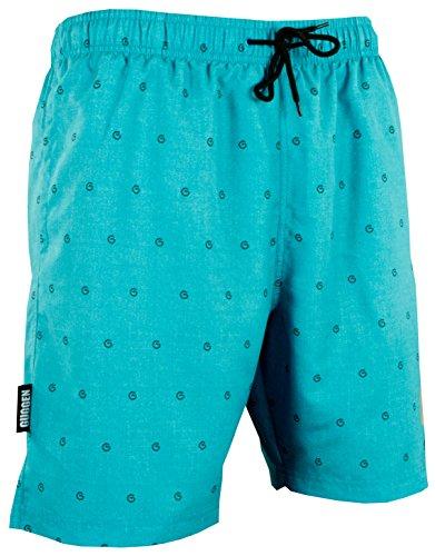 GUGGEN Mountain Herren Badeshorts Beachshorts Boardshorts Badehose Schwimmhose Männer im GUGGEN Logo Style *Print* grün türkis L