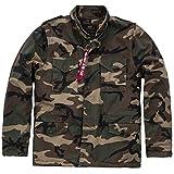 Alpha Industries Vintage M-65 CW Robuste Army-Jacke mit großen Taschen Innenfutter für kalte Temperaturen Parka aus Baumwolle, Größe:XXL, Farbe:Woodland camo