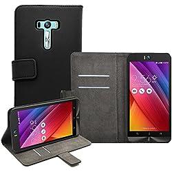 """Membrane - Nero Portafoglio Custodia per Asus Zenfone Selfie (ZD551KL) 5.5"""" - Wallet Flip Case Cover + 2 Pellicola Protettiva"""