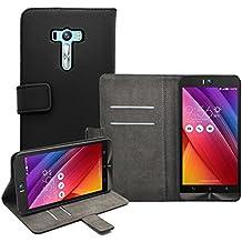 """Membrane - Negro Cartera Funda Carcasa para Asus Zenfone Selfie (ZD551KL) 5.5"""" - Wallet Case Cover + 2 Protector de Pantalla"""