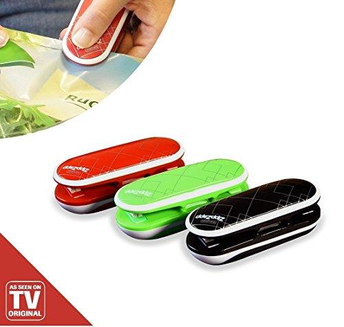 Zipp Zapp Universalversiegler 3 Stück rot grün schwarz Versiegeln Verschließen Aufbewahren das Original von Mediashop