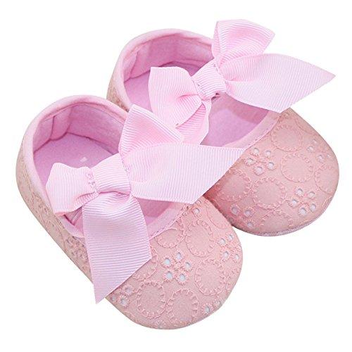 Aivtalk Mary Jane Baby Girl Sapatos Rastejando Sapatos Sapatos De Bebê Schleifenband Fechamento Princesinha Luz Rosa