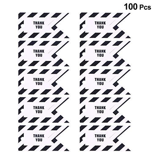 Bestoyard 100pcs regalo etichette tag etichette per bagagli striscia modello grazie fai da te etichette di carta per il giorno del ringraziamento (nero)