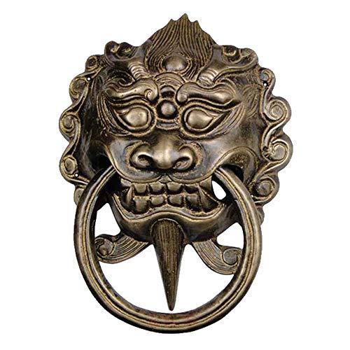 昊天 斋 新 中式 明清 Antiguos accesorios de cobre puerta puerta bestia cabeza león cabeza arco primer mango retro con-Bronce