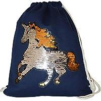 6363f7ed7c619 Turnbeutel Pailletten Einhorn Rucksack Wendepailletten Glitter Unicorn  Pferd Horse Beuteltasche mit Kordel Sportbeutel Gymsack Sport Tasche