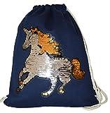 Turnbeutel Pailletten Einhorn Rucksack Wendepailletten Glitter Unicorn Pferd Horse Beuteltasche mit Kordel Sportbeutel Gymsack Sport Tasche Sack Beutel Hipster (Marineblau)
