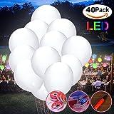 LED Luftballons,Jyoker 40 Stücke Leuchtende Weiß Ballons für Hochzeit Party/Geburtstag/Festival/Weihnachten Dekoration