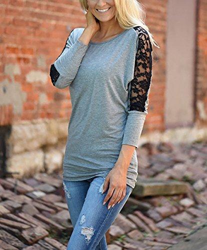 Minetom Femme Manches Longues Dentelle Crochet Hauts Chemise Élégant Creux Col Rond Blouse Shirt Gris