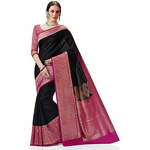 Meghdoot Women's Woven Kanchipuram Spun Silk Saree Black and Pink Color Sari
