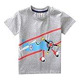 BHYDRY NiñIto Niños Bebé Chico Ropa De La Muchacha AvióN De Dibujos Animados Manga Corta Impresión Camiseta De Las Tapas De La Blusa(Gris,130)
