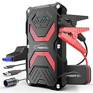 Auto Starthilfe, YABER 1000A 13800mAh Starthilfe Powerbank Starthilfegerät mit LED Taschenlampe, QC3.0 Ausgang, Typ C Anschluss