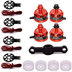 LHI 4pcs DX2205/2300KV brushless motor is specially designed for 200-300 sizes multirotorswhich weighs only 35g.+ 4xMotor Guard Protector+4x5730 5V LED Board