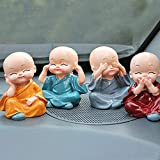 Lvi Craft Set of 4 Baby Hat Monk Buddha Laughing Statue for Home Office Feng Shui Decorative Showpiece Idol Gift