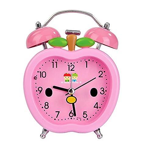 Les bonbons de sourdine Bell Cartoon couleur avec lampe de chevet nuit étudiant Bureau Table Top Réveil,Pink Apple anniversaire cadeaux de Noël
