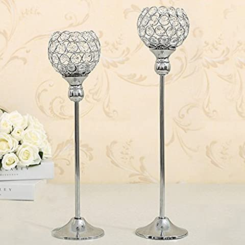 VINCIGANT Crystal Candle Holders Candlesticks Centerpieces for Wedding Party Table Decoration Tealight Holders Set of 2 Silver Candelabras Wedding Gifts Pillar Candle Holders Votive